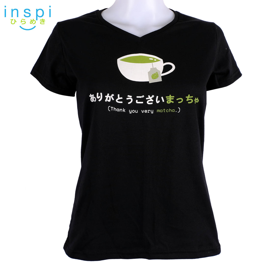INSPI Tees Ladies Semi Fit Matcha Graphic Tshirt in Black