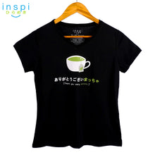 Load image into Gallery viewer, INSPI Tees Ladies Semi Fit Matcha Graphic Tshirt in Black