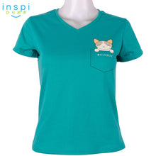 Load image into Gallery viewer, INSPI Tees Ladies Semi Fit Pocket Baby Cat Graphic Tshirt in Blue Green