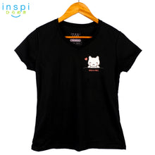 Load image into Gallery viewer, INSPI Tees Ladies Semi Fit Cat in a Pocket Tshirt in Black