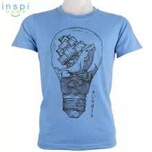 Load image into Gallery viewer, INSPI Tees Whale Bulb Graphic Tshirt in Light Blue