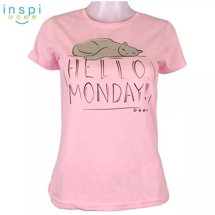 INSPI Tees Ladies Loose Fit Hello Monday Graphic Tshirt in Pink
