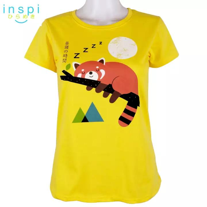 INSPI Tees Ladies Loose Fit Nap Red Panda Graphic Tshirt in Yellow