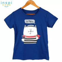 Load image into Gallery viewer, INSPI Tees Ladies Loose Fit Le Meow Graphic Tshirt in Blue