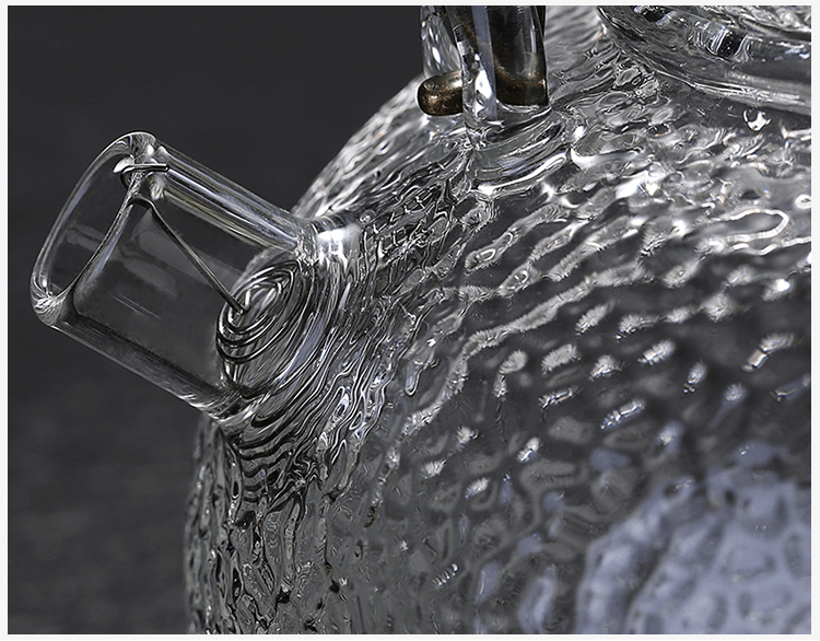 The detail of Glass Teapot Heat Resistant Teapot Spout