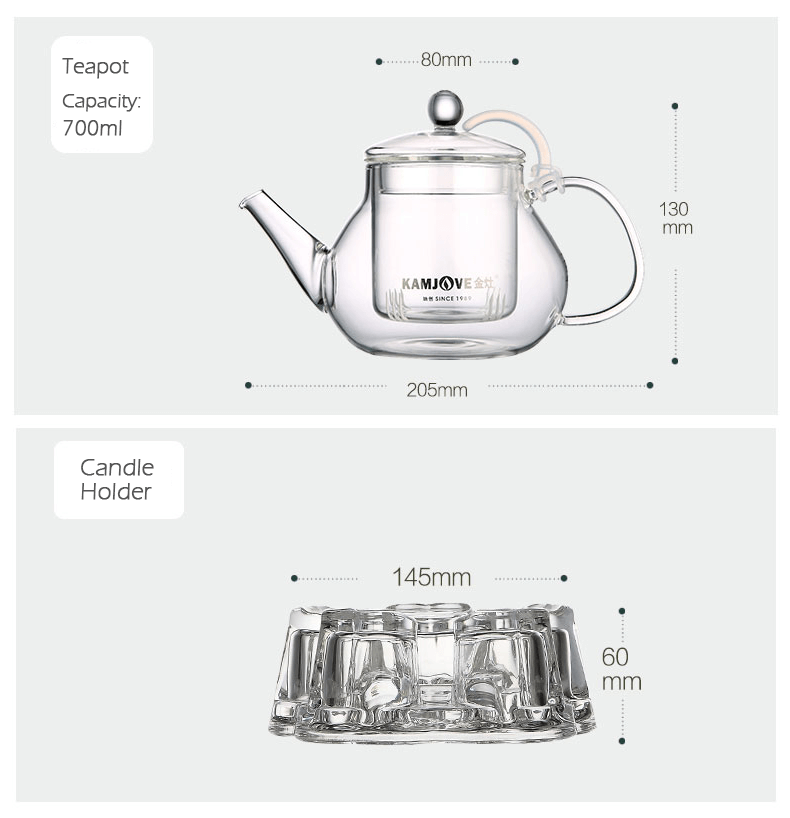 KAMJOVE Borosilicate Teapot with Infuser for Tea Leaf Loose Tea Product Information