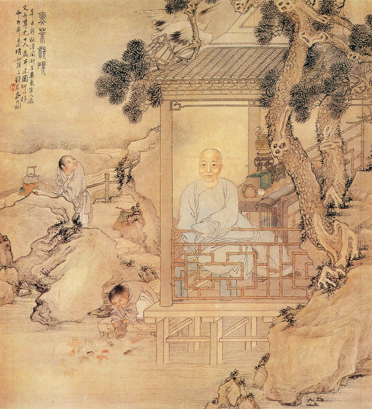 Qing Dynasty, Cooking tea and wash inkstone Figure, author Qian Huian