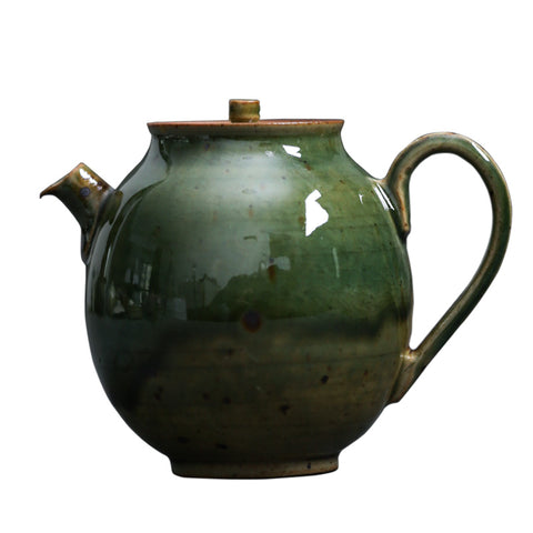 Handmade Teapot Jingdezhen Ceramic Kungfu Tea Maker Natural Kiln Transmutation Ceramic Pot Retro Chinese Small Teapot