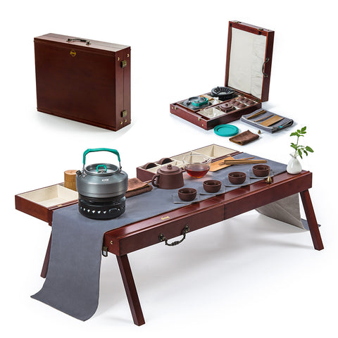 Portable Kung Fu Travel Set Outdoor Tea Maker Integrated Solid Wood Tea Tray Tour Set Teaart Performance Table Teaching Tea Set
