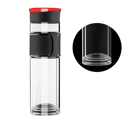 Tea Infuser Bottle - Travel Mug for Loose Leaf - Glass Water Bottle - Tea Stainless Steel Strainer 15oz/450ml