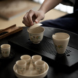 Plant Wood-ash Gaiwan Sancai Bowl Kung Fu Tea Set Big Tea Bowl Tea Cup Jing Tea Bowl Lid Cup Tea Cup
