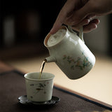 Ancient Green Ice Cracked Ceramic Teapot Filter Teapot Hand-painted Teapot Single Pot Household Tea Set