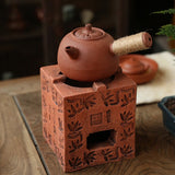Antique Bamboo Stove Square Stove Tea Poems Chaozhou Gongfu Stove Charcoal Stove Red Mud Old Carbon Stove Ornaments