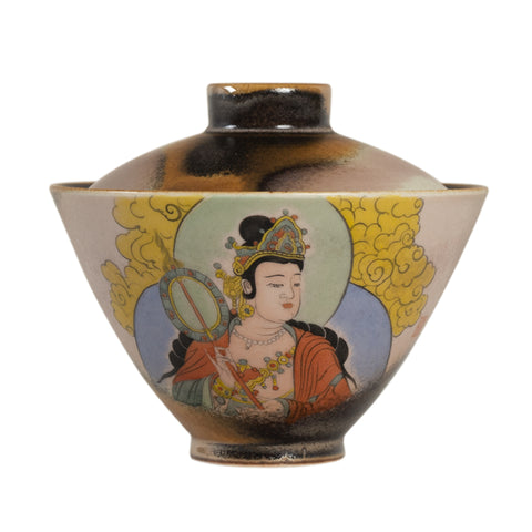 Antique kiln hand-painted cover bowl Jingdezhen Kung Fu tea set Fahai Temple handmade retro ceramic tea cover bowl hand-painted Guanyin