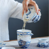 Auspicious arowana ceramic fair cup sterling silver modified tea sea kung fu tea set hand-made uniform cup