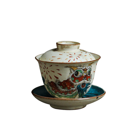 Auspicious Lions Sancai Covered Bowl Jingdezhen Handmade Ceramic Single Gaiwan