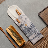 Bamboo tea three-piece cotton and linen storage bag set Kung Fu tea set accessories bag tea clip six gentleman tea ceremony accessories