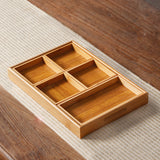 Bamboo multi-grid tea point plate snack fruit plate melon nut tea tray storage box