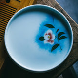 Celadon hand-painted ceramic tea tray round pot tray fruit plate