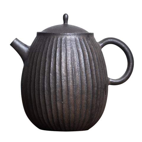 Ceramic Clay Koi Metal Matte Black Melon Edge Small Pot Handmade Cream Glaze Multi-flat Teapot With Ball Hole
