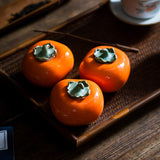 Ceramic Persimmon Tea Cans Creative Sealed Cans Handmade Tea Ceremony Decoration Gifts