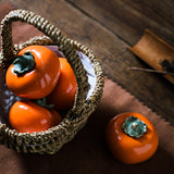 Ceramic persimmon tea cans Creative sealed cans handmade tea set tea ceremony decoration gifts