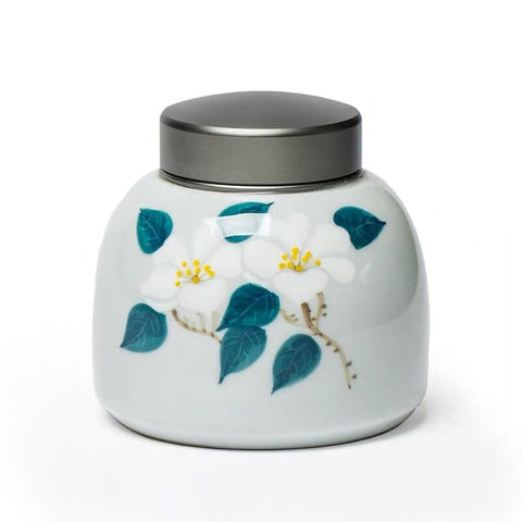 Ceramic Hand-painted Camellia Tea Cans Round Size Sealed Storage Tin Cover Tea Cans Pu'er Tea Jar