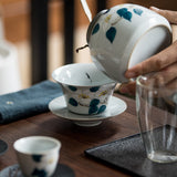 Ceramic hand-painted cover bowl sancai large cups retro handmade cover cups tea home kung fu tea set