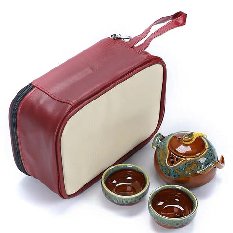 Ceramic Kiln Transmutation Household One Pot Two Or Four Quick Guest Cup Portable Bag Travel Gift Customization