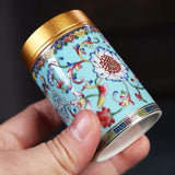 Ceramic Tea Cans Portable Gift Box Small Tea Jar Mini Portable Travel Storage Sealed Cans