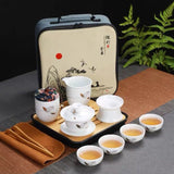 Ceramic Travel Tea Set Simple Home Kungfu Tea Bowl Tea Cup Portable Travel Bag Bamboo Tea Tray