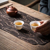 Chaxi Tea tablecloth Chinese style natural waterproof hand-embroidered coasters ginkgo silk Zen cloth cotton and linen tea set tea mat