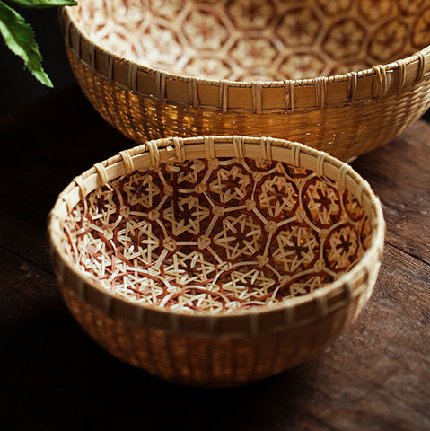 Chinese style bamboo weave basket bamboo weave safflower picture fruit basket bamboo basket tea room storage bamboo basket