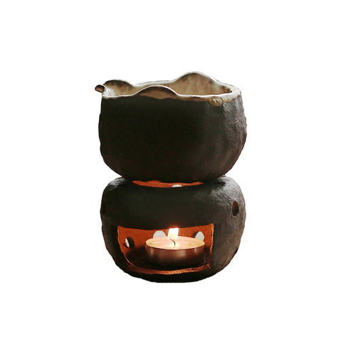 Coarse Pottery Hand-pinching Hand-cooked Tea Maker Male Cup Candle Heating Base Tea stove