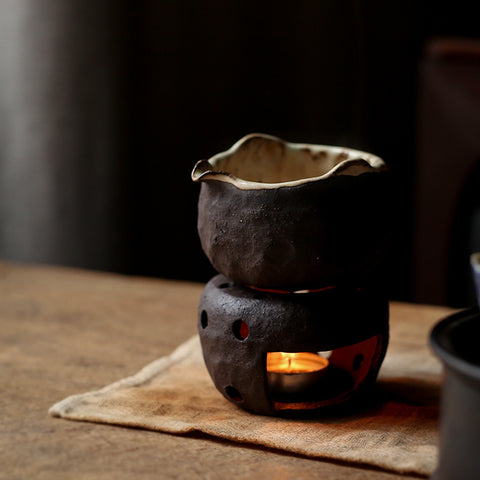 Coarse pottery hand-pinching hand-cooked tea maker, tea maker, handmade male cup, candle heating base, holding tea stove, tea set