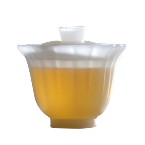 Colored Glaze Cover Bowl Fair Cup Teacup Kuikou Linghua White Jade Transparent Color Kung Fu Tea Set Humanistic Tea Table Gaiwan Ancient Craftsmanship Tureen