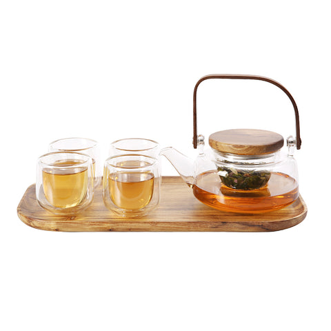 Complete Set Kung Fu Tea Set Flower Teapot Girders Pot Glass Tea Set