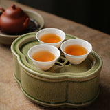 Crackle Tea Boat Antique Zhangzhou Kiln Tea Plate Begonia Hu Cheng Zisha Teapot Dry Bubble Plate Kai Pian Dry Bubble Tray Kung Fu Tea Set