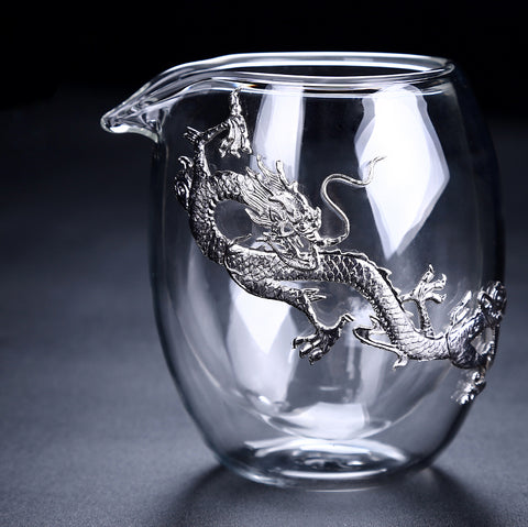 Double Glazing Glass Gongdao Cup - Golden Dragon 220ml