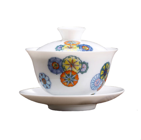 Doucai Contrasting Colors Ceramic Tureen Teacup Tea Filter Tea Bowl Jingdezhen Hand-painted Leather Ball Flower Sancai Cover Bowl White Porcelain Gaiwan Kung Fu Set