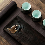 Ebony Zen tea tray, quaint tea tray, pot holder, small dry brew tea table, pot mat tea ceremony accessories