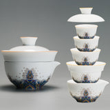 Enamel painted porcelain tea sets outdoor travel carrying two cups of fair cup pot of tea canister