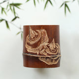 Hand-made old coal bamboo cover, carved bamboo cover, hand carved bamboo frame, teaware, gaituogaizhi