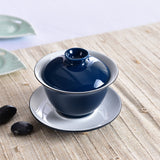 Features blue glaze ceramic tureen Kung Fu Tea