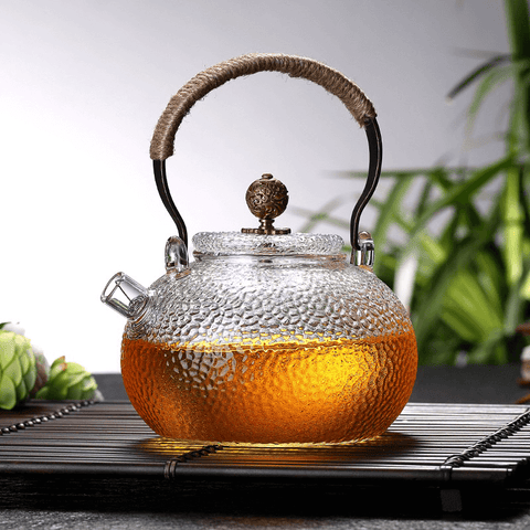 Glass Teapot Heat Resistant Teapot with Copper handle