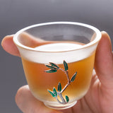 Glass cup single cup tea cup handmade silver inlay Cup