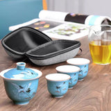 Glass travel tea set portable bag 2 person teapot travel quick cup one pot two cups
