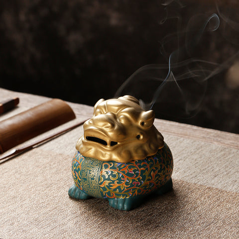 Golden toad ceramic incense burner household Buddha with fortune plate incense lying point incense holder tray