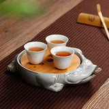 Golden toad rough pottery small tea tray household tea mat ceramic purple sand pot tea tray pot tray