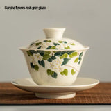 Grass and ash cover bowls, household ceramic tea bowls, Jing cha cups, Kung Fu tea set bowls